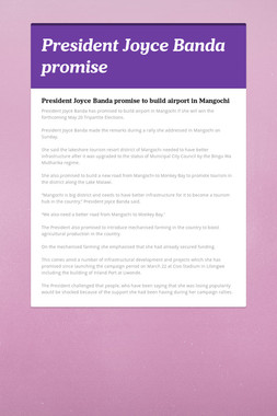 President Joyce Banda promise