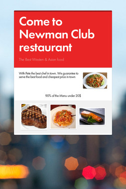 Come to Newman Club restaurant