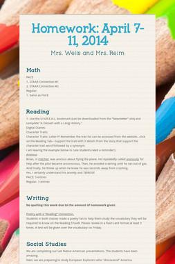 Homework: April 7-11, 2014