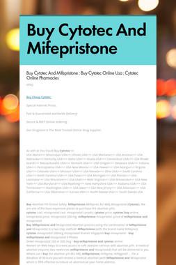 Buy Cytotec And Mifepristone