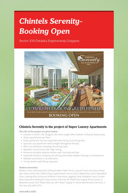 Chintels Serenity-Booking Open