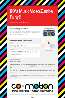 80's Music Video Zumba Party!!