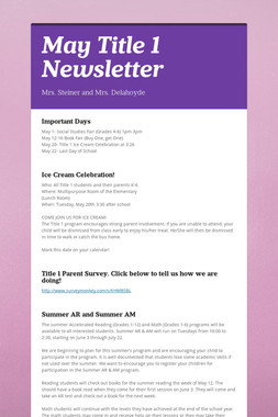 May Title 1 Newsletter