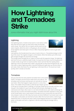 How Lightning and Tornadoes Strike