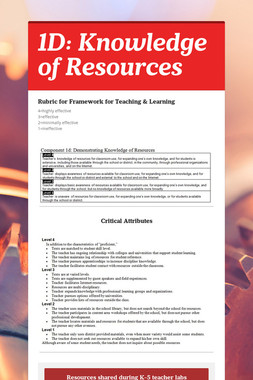 1D: Knowledge of Resources