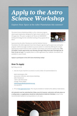 Apply to the Astro Science Workshop