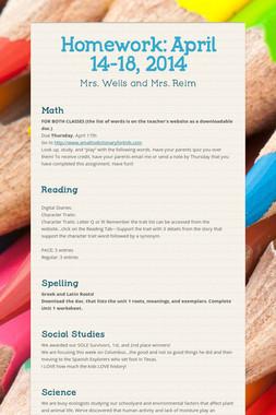Homework: April 14-18, 2014