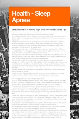 Health - Sleep Apnea