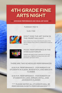 4th Grade Fine Arts Night