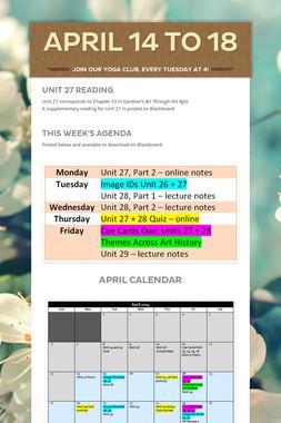 April 14 to 18