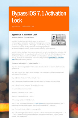 Bypass iOS 7.1 Activation Lock