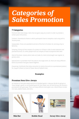 Categories of Sales Promotion