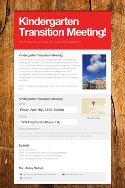 Kindergarten Transition Meeting!