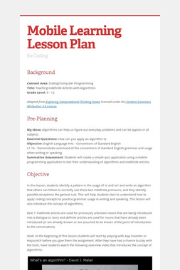 Mobile Learning Lesson Plan