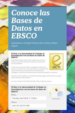 Conoce las Bases de Datos en EBSCO