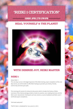 *Reiki 1 Certification*