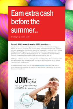 Earn extra cash before the summer..