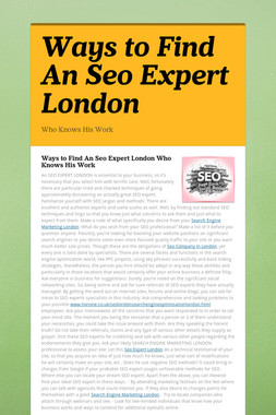 Ways to Find An Seo Expert London