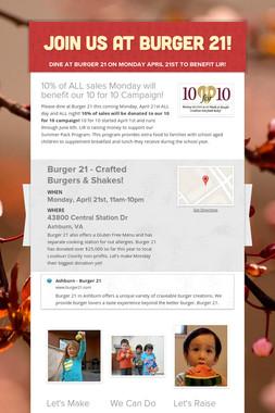 Join Us at Burger 21!