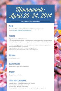 Homework: April 20-24, 2014
