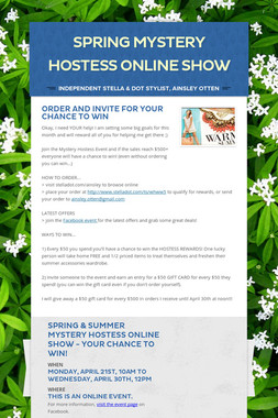 Spring Mystery Hostess ONLINE Show