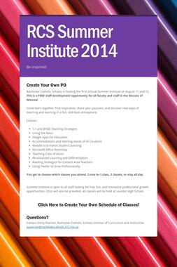 RCS Summer Institute 2014