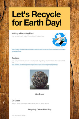Let's Recycle for Earth Day!