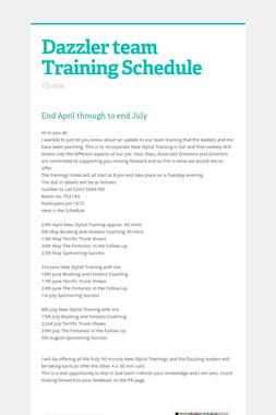 Dazzler team Training Schedule
