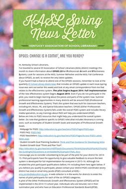 KASL Spring News Letter