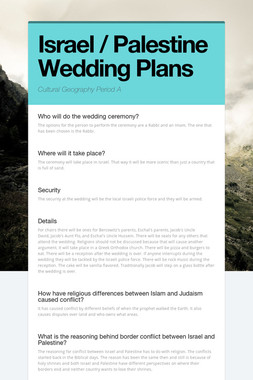 Israel / Palestine Wedding Plans