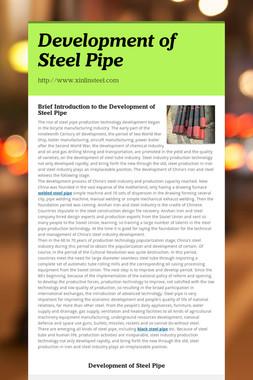 Development of Steel Pipe