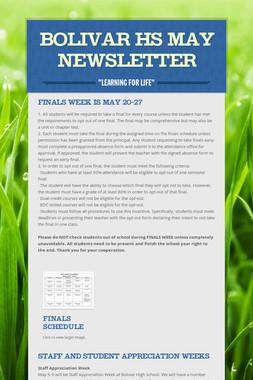 Bolivar HS May Newsletter