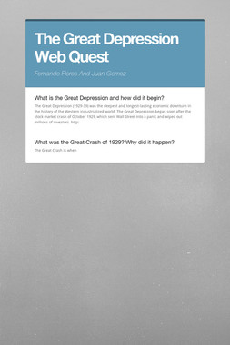 The Great Depression Web Quest