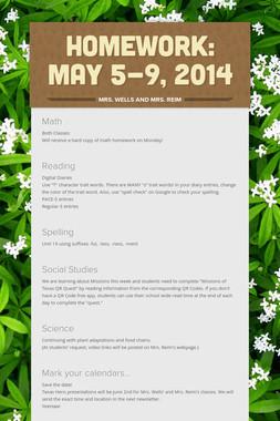 Homework: May 5-9, 2014