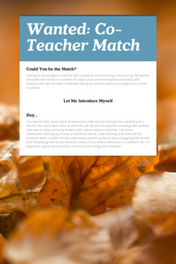 Wanted: Co-Teacher Match