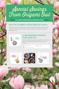 Special Savings From Origami Owl