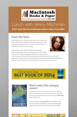 Lunch with Jenny Milchman