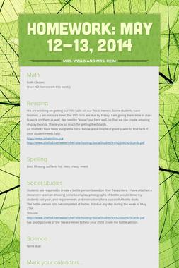 Homework: May 12-13, 2014