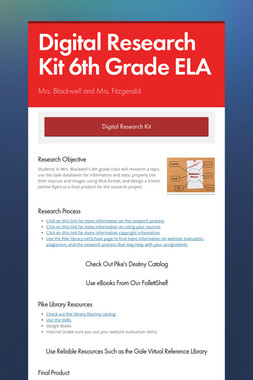 Digital Research Kit 6th Grade ELA