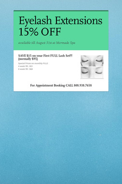 Eyelash Extensions 15% OFF