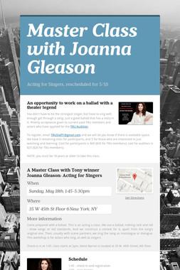 Master Class with Joanna Gleason