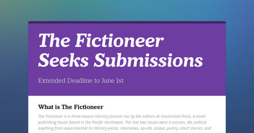The Fictioneer Seeks Submissions | Smore Newsletters