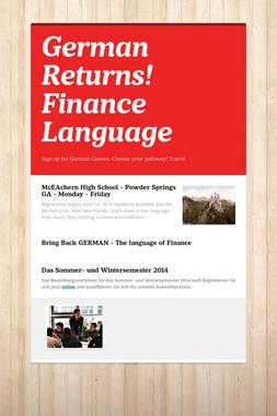German Returns! Finance Language
