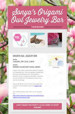 Sonya's Origami Owl Jewelry Bar
