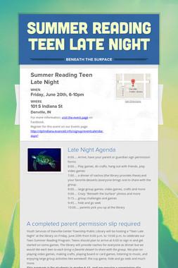 Summer Reading Teen Late Night