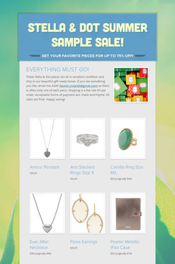 Stella & Dot Summer Sample Sale!