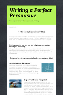 Writing a Perfect Persuasive