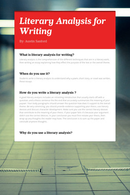 Literary Analysis for Writing
