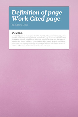 Definition of page Work Cited page