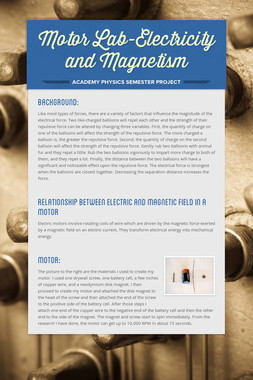 Motor Lab-Electricity and Magnetism
